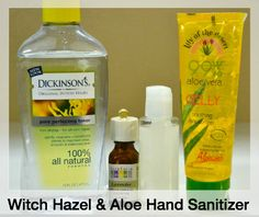 """Hand Sanitizers with Witch hazel & Aloe: Homemade is the best, """"D""""ebbie. Want a natural alternative to hand sanitizers that won't dry your skin out? Make your own Witch Hazel and Aloe Hand Sanitizer Homemade Beauty Products, Natural Cleaning Products, Natural Products, Doterra, Diy Deodorant, Deodorant Recipes, Natural Deodorant, Natural Hand Sanitizer, Vodka"""