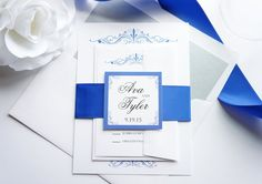 View our royal blue wedding invitation by kraftweddingpapers. Purchase a wedding invitation sample to view this wedding invitation and our printed color chart!