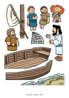 Lesson 8 Jesus Calls the Disciples: John 1, Matt. 4, Luke 5 & 6, Mark 3 - 3-d scene with sticky foam squares (Fishers of Men)