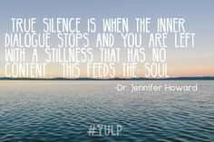"""""""True silence is when the inner dialogue and you are left with a stillness that has no content...this feeds the soul"""" -Dr. Jennifer Howard"""