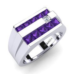 We have huge collection of Men's Amethyst Rings! #ManRing #Amethyst #WhiteGold #Diamond #Fashion #EngagementRing #shopping #Onlineshopping #jewelry #Ring