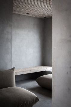 A unique space: walls match floor ceiling matches bench reduced to two materials floor is inviting  odilon creations
