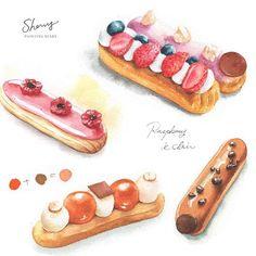Instagram Dessert Illustration, Pastry Art, Food Drawing, Dessert Recipes, Desserts, Food Illustrations, Afternoon Tea, Painting Inspiration, Food Art