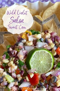 Wild Violet Sweet Corn Salsa. ...With a juicy, creamy, sweet, and fresh out of the garden corn flavor, meet Wild Violet Sweet Corn! You must try this yummy salsa! #wildvioletsweetcorn #delicious #salsa #cornsalsa #easysummerrecipes Yummy Appetizers, Appetizer Recipes, Sweet Corn Salsa, Good Food, Yummy Food, Easy Summer Meals, Salsa Recipe, Tortilla Chips, Finger Foods