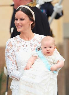"""""""Princess Sofia holding her son Prince Alexander as they attend Alexander's christening at Drottningholm Palace Chapel on September 9, 2016 in Stockholm, Sweden.  Photo: Luca Teuchmann/WireImage  """""""