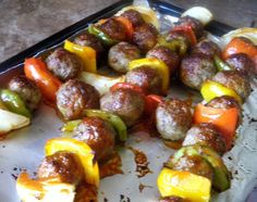 """Easy Meatball Kebobs from Food.com: I always have some cooked meatballs in my freezer so this is an easy recipe for me to make!. They look quite elegant and could be served to company any time. You will neeed 8 1"""" pieces of green pepper and 8 1"""" pieces of red pepper and 8 pieces on onion. I have simple said !/2 pepper and 1 onion to keep the ingredient list simple. If using Bamboo skewers soak for 45 minutes in water to prevent scorching. The cook time is apprx depending on your method of…"""
