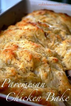 Parmesan Chicken Bake - The Best Cheesy Baked Chicken Breasts Parmesan Chicken Bake is an easy dinner idea. Learn how to bake chicken breasts bake in the oven with mayo and parmesan cheese until golden brown and tender Think Food, I Love Food, Food For Thought, Good Food, Yummy Food, Delicious Meals, Great Recipes, Dinner Recipes, Favorite Recipes