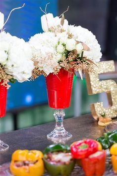 Home and food ideas for your Super Bowl party: red solo cup vase. TODAY Show 1-29-16