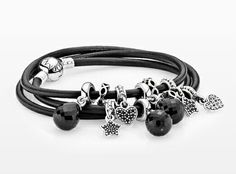 PANDORA Smooth Triple Leather Black Bracelet with Hearts,  Stars and Faceted Dangles ♡