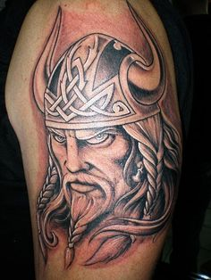 Omg, my father had exact like this viking tattoo on his back of arm! It has yellow ink on viking's hair. I haven't seen this tattoo for a long time! *sighs*