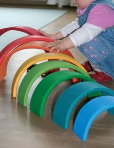 Grimm's Wooden Rainbow Tunnel. Now have this at large size (picture is extra large) and really is a fab toy. Definitely recommend.