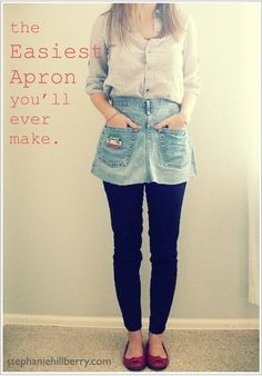 DIY apron from repurposed blue jeans