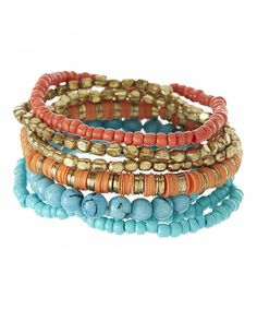 Look what I found on #zulily! Turquoise & Red Stretch Bead Bracelet Set #zulilyfinds