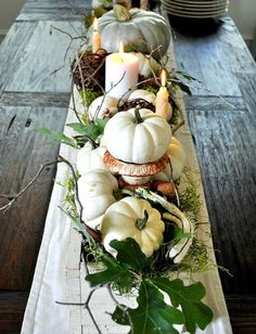 fall tablescape idea but use sea shells...