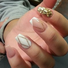 Ooh I love this! Coffin shaped nails with geometric lines and colorings