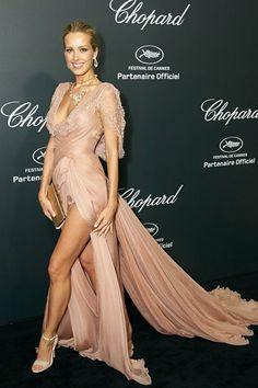 Petra Nemcova wore a gown by Elie Saab Couture and carried a Salvatore Ferragamo clutch at Cannes 2014