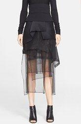 Donna Karan New York Peplum Waist Chiffon Midi Skirt