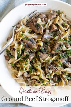 This cozy ground beef stroganoff is easy to make and full of savory rich flavors. The beef sauce is flavored with mushrooms, Dijon mustard, and sour cream. Serve it with tender egg noodles for a comforting weeknight dinner. | dinner ideas | ground beef recipes | easy meals | fall recipes |