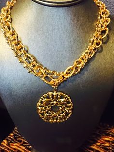 Jordan Necklace - Multi strand gold and silver chain with filigree - $88.00