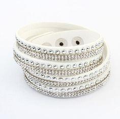 Bracelet Fashion Long Leather Crystal Orange Vintage Bracelet Braided Bracelets for Women Men Jewellery
