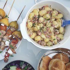 Aardappelsalade met spekblokjes en bieslook