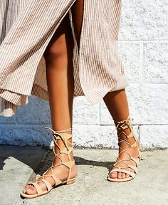 c39d8bba9a6 How to wear lace up sandals - summer trend gladiators Neutral Sandals