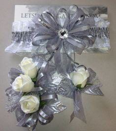 Silver Grey Silver Prom Garter n Rose Wrist by FlorescenceByDesign, $46.95