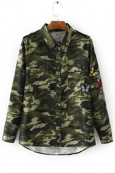4cbe5d5d5908b Embroidery Butterfly Camouflage Color Block Single Breasted High Low Hem  Shirt