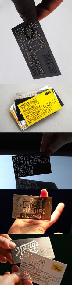 Clever Die Cut Punched Business Card For An Acupuncturist