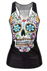 Stylish U-Neck Floral Skull Print Sleeveless Tank Top For Women