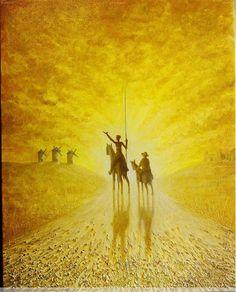 Don Quijote y Sancho en amarillos intensos Óleo Lienzo Figura