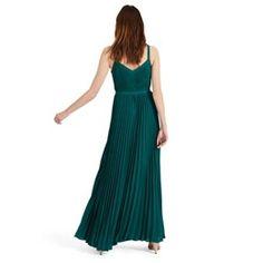 Green Giovanna pleated maxi dress