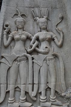 Party Twins in stone.. Cambodia