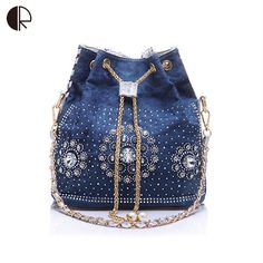 women denim purse rhinestone bag with chain handle shoulder bag women's summer beach little cluthes handmade PU bucket bag