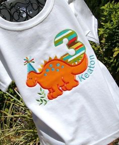 Boys Birthday Dinosaur In Orange by lilshabebe on Etsy, $20.95