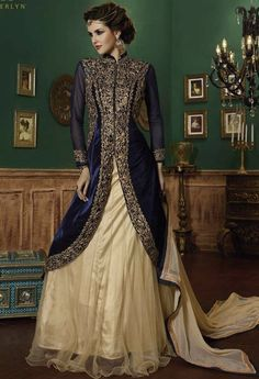 Blue Velvet Designer Lehenga, Palazzo. Love the top! Just make the lehenga into a gold shalwar for a simpler evening look.