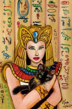 Bast Egyptian Goddess She is the protectress of women, children, and domestic cats. She was the goddess of sunrise, music, dance, and pleasure as well as family, fertility, and birth. Her feast day is October 31.