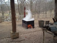 Boiling down maple sap to make maple syrup