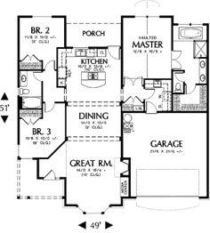 Granja Estilo Plan de Casa - 3 Habitaciones 2 Baños 1669 Sq / Plan de pies # 48-274 planos de pisos - Plan de piso principal - Houseplans.com                                                                                                                                                     Más