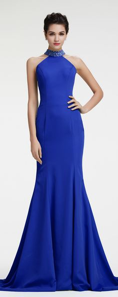 Royal blue mermaid evening dress backless formal dresses Blau Abendkleider Ballkleider