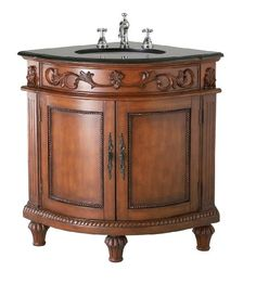 Photos Of Belle Foret BFR Single Basin Bathroom Corner Vanity Dark Oak Click image to