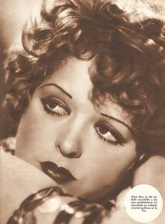 This image from the '20s shows the popular make-up trends of the time (thin eyebrows with pencil, red or dark pink full lipstick, kohl around the top and bottom of the eyes)
