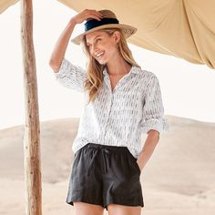 Airy and effortless, the Linen Button-Down Shirt is a summertime classic. Sale Of The Day, Button Downs, Button Down Shirt, Garnet, Summertime, Buttons, Elegant, My Style, Classic