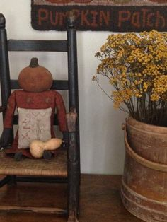 old child size chair, firkin, hooked rug & doll by me. pinkeep design from Pineberry Lane.
