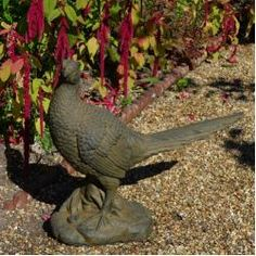 Sol 72 Outdoor The Cael Pheasant Statue is made of fibre-clay and finished in a lovely rust effect that glows when the sunlight hits it. Stone Garden Statues, Bird Statues, Garden Fountains, Garden Stones, Bird Sculpture, Garden Sculpture, Garden Wind Spinners, Fallen Fruits, Temple Gardens