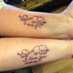 27. Elephant/Elephant Baby Mother-Daughter Tattoo