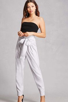 Belted Slub Trousers