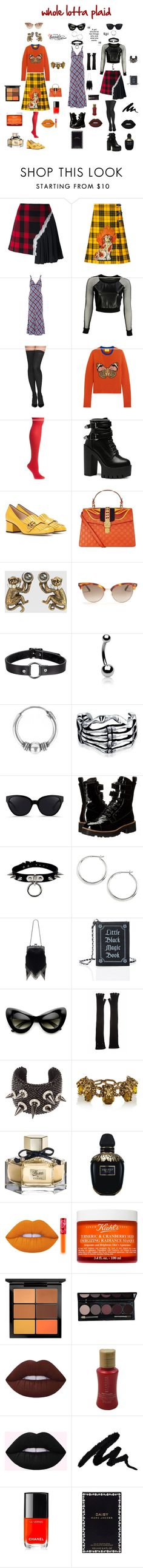 """""""WHOLE LOTTA PLAID"""" by giagiagia ❤ liked on Polyvore featuring Maison Margiela, Gucci, Marc Jacobs, VIPARO, Commando, Hue, Bling Jewelry, Urbiana, 3.1 Phillip Lim and Shellys"""