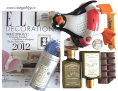 Elle decoration, čokoláda, kosmetika, levandule, rádio - tučňák    www.vintageblog.cz