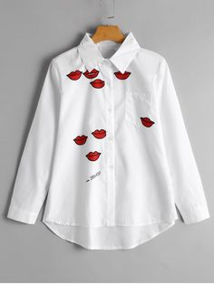 Lip Print High Low Pocket Shirt - WHITE XL